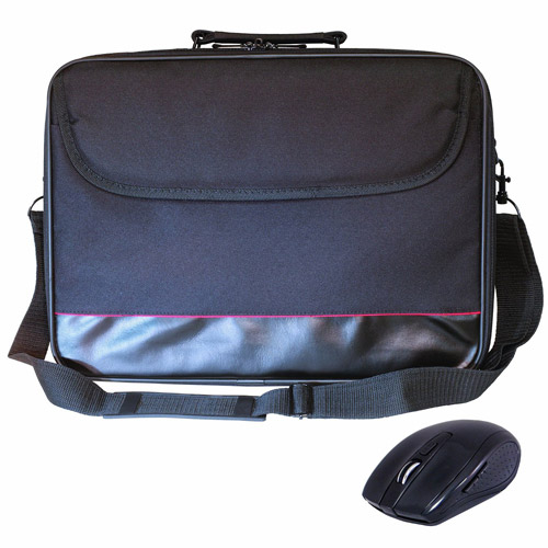 """PC Treasures ToteIt! 15.6"""" Laptop Case with ClickIt! Optical Wireless Mouse, Black"""