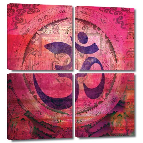 ArtWall 'Om Mandala' by Elena Ray 4 Piece Graphic Art on Wrapped Canvas Set