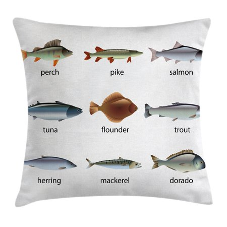 Tenba Rain Cover (Ocean Animal Decor Throw Pillow Cushion Cover, Group of Fish with Perch Tuna Pike Flounder Mackerel Trout Aquatic Artwork, Decorative Square Accent Pillow Case, 18 X 18 Inches, Multi, by)