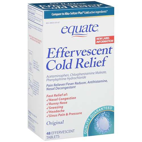 Equate Effervescent Cold Tablets, 48ct