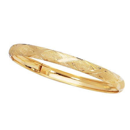 10k Yellow Gold Tubular Engraved Flex Bangle Bracelet 8 Inches - Gold Bangle