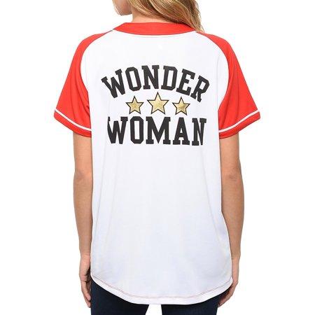 Wonder Woman Women's Button Down Baseball Jersey Style Shirt White Red