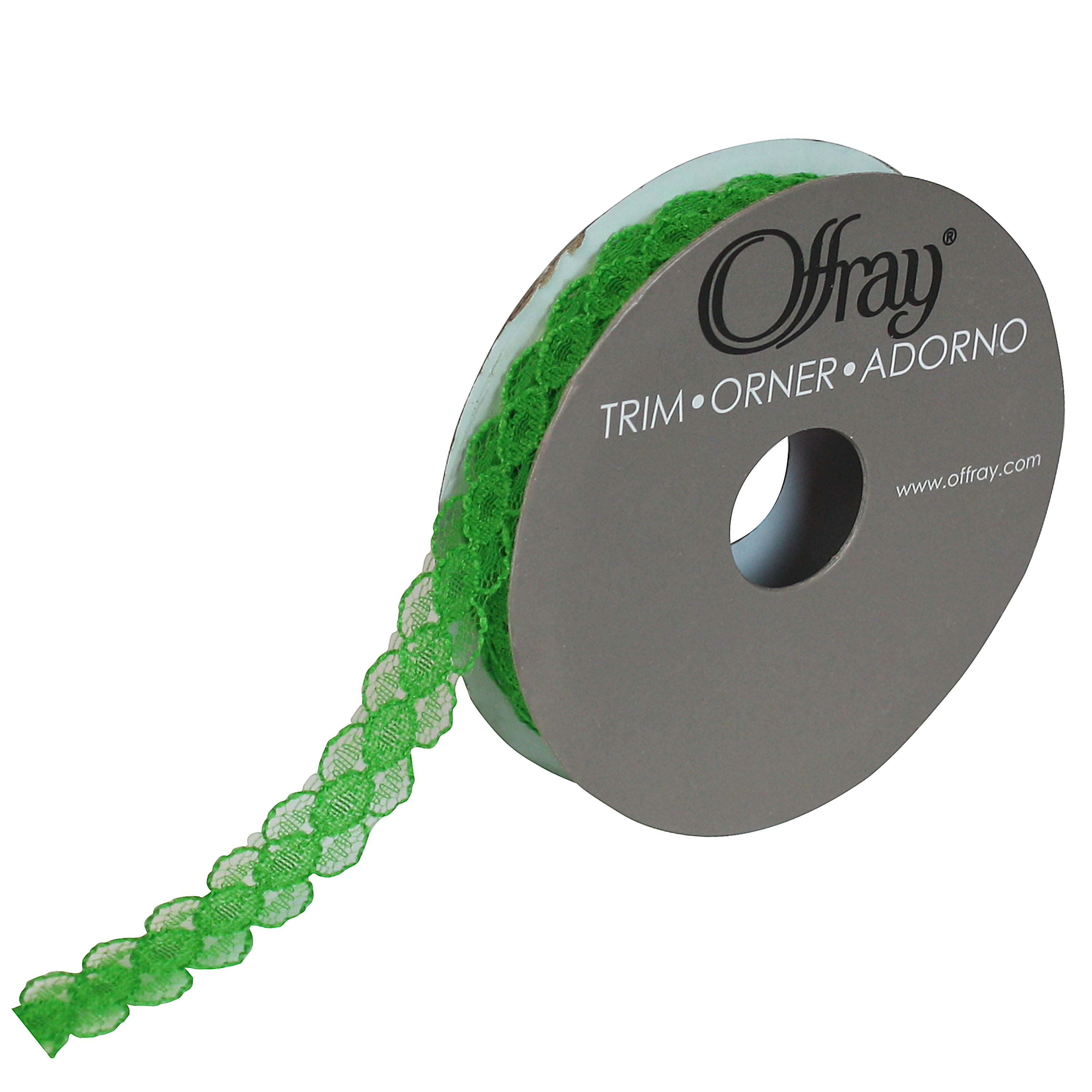 OFFRAY TRIM GREEN PETITE LACE 7/16 INCHES X 3 YARDS