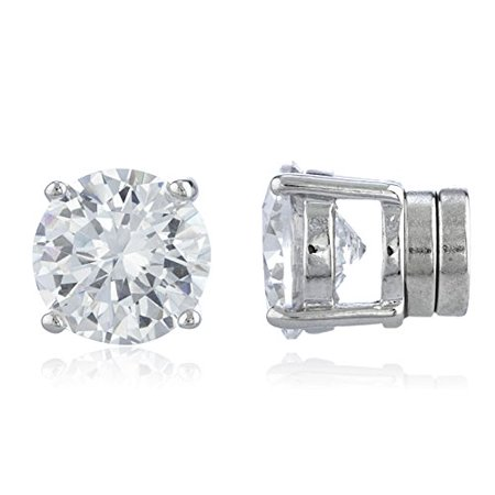 New & Improved! Silvertone with Clear Cz Round Magnetic Stud Earrings - 4mm to 12mm Available (8 Millimeters)