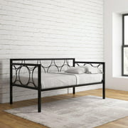 DHP Rebecca Metal Daybed Frame with Geometric Pattern, Twin, Black