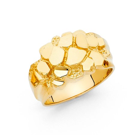 Solid Nugget Ring 14k Yellow Gold Chunky Band Textured Polished Finish Genuine Men - 14k Nugget Ring
