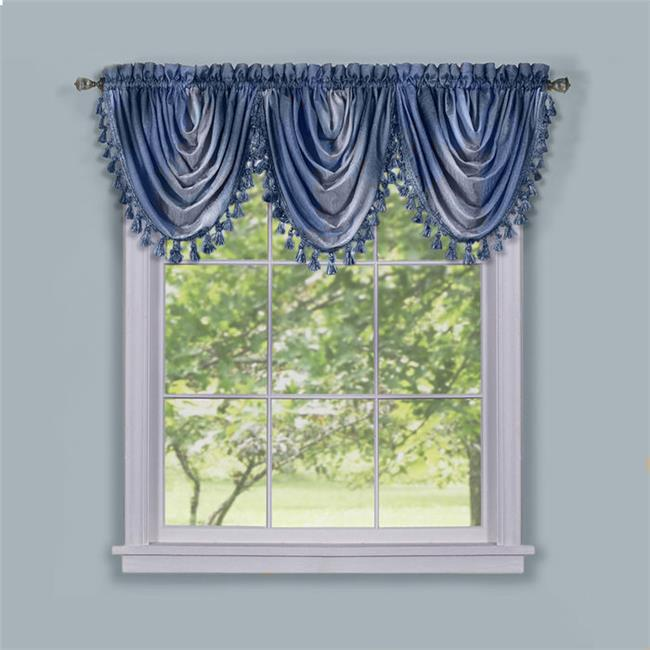 Achim Importing OMWFVLBL06 Ombre Waterfall Valance - Blue