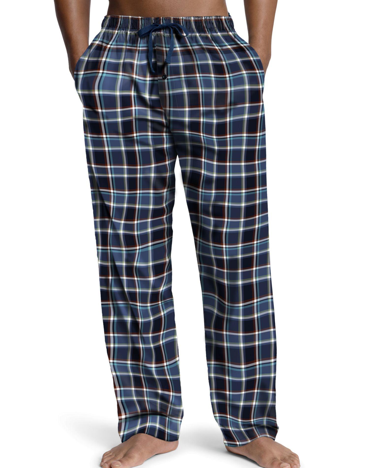 Hane Tagless Pajamas Knit T Top /& Woven Plaid Pants