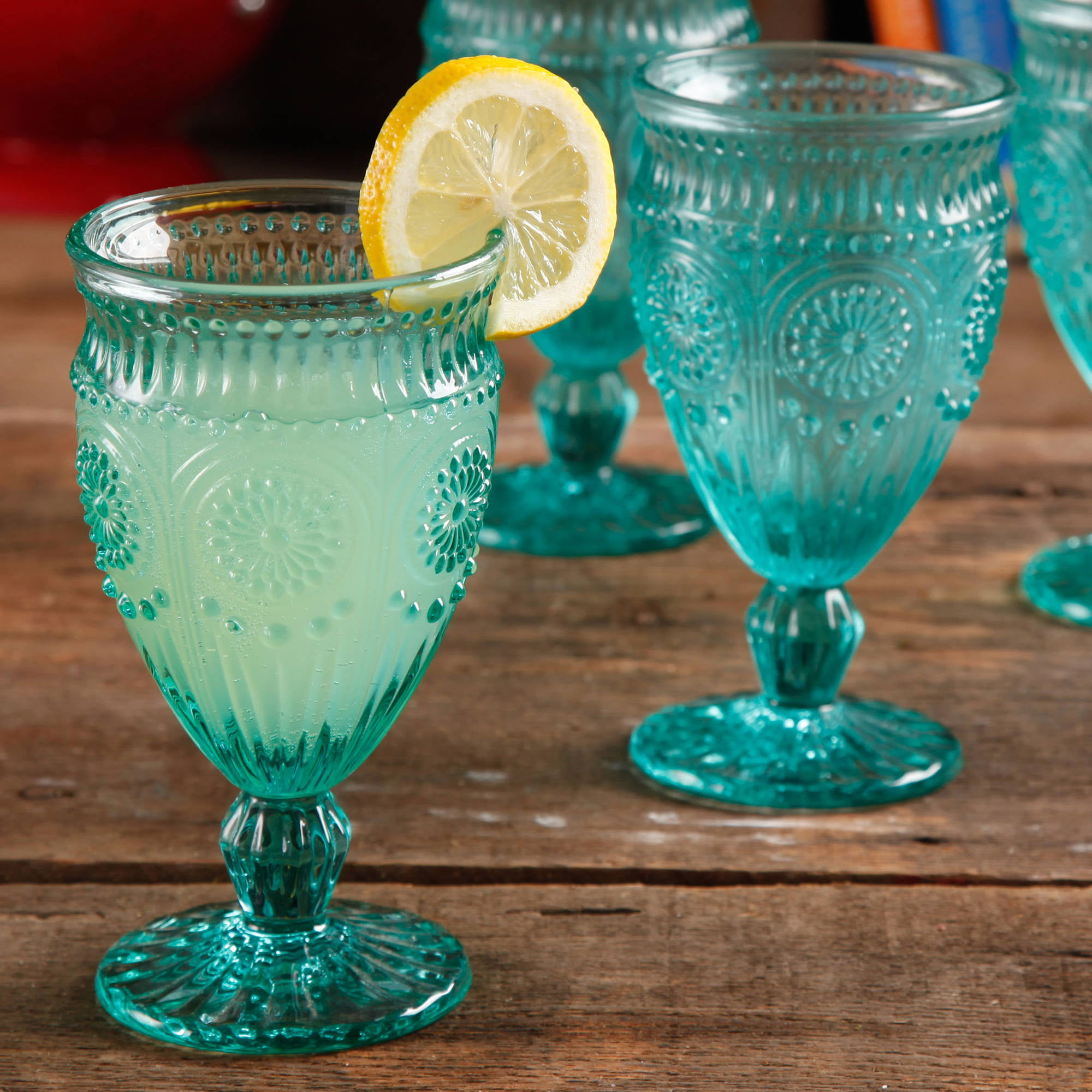 the pioneer woman adeline embossed footed glass goblet plum walmartcom - Water Goblets