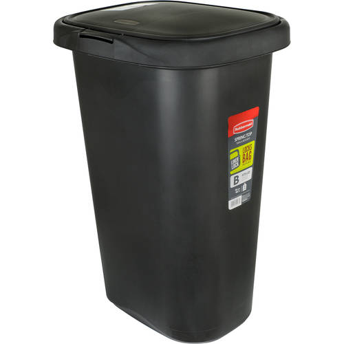Rubbermaid Spring-Top 13-Gallon Waste Can, Black