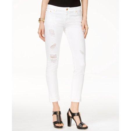 Michael Kors - Michael Kors NEW White Women s Size 14 Ripped Cropped Slim  Jeans - Walmart.com 60b9422cf