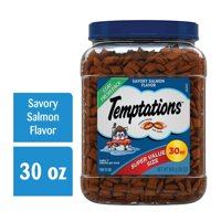 TEMPTATIONS Classic, Crunchy and Soft Cat Treats, Savory Salmon Flavor, 30 oz. Tub (Various Sizes)