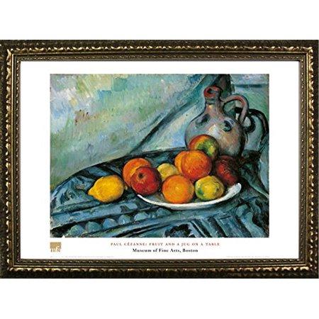 FRAMED Fruit And A Jug On A Table by Paul Cezanne 24x32 Art Print Poster Famous Painting Still Life Fruit Plate From Museum of Fine Arts Boston