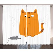 Cartoon Curtains 2 Panels Set, Cute Cat Looking at Mouse Hunter Kitty Fun Humor Kids Animal Graphic Art Print, Window Drapes for Living Room Bedroom, 108W X 63L Inches, Marigold Grey, by Ambesonne