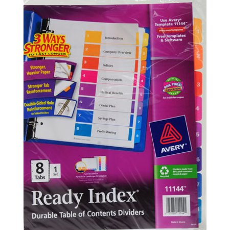 Avery ready index 8 tab dividers walmartcom for Avery ready index template 12 tab