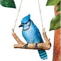 Hanging Bluebird on a Swinging Tree Branch Lawn Ornament - Intricately Carved, Realistic - Hang From Tree Branch, Shepherd's Hook, Porch Ceiling