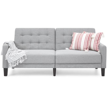 Best Choice Products Convertible Linen Upholstered Split Back Futon  Gray