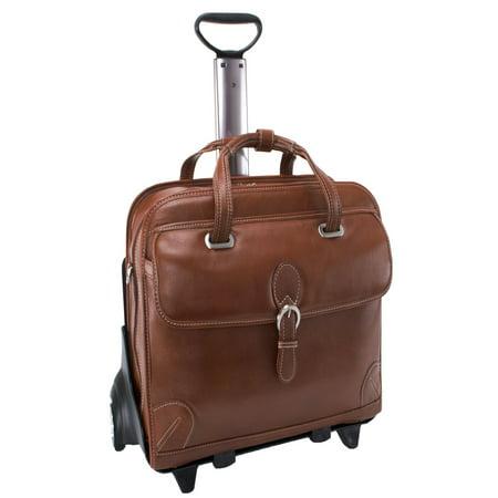 - Siamod Carugetto Detachable-Wheeled Leather Laptop Case - Cognac