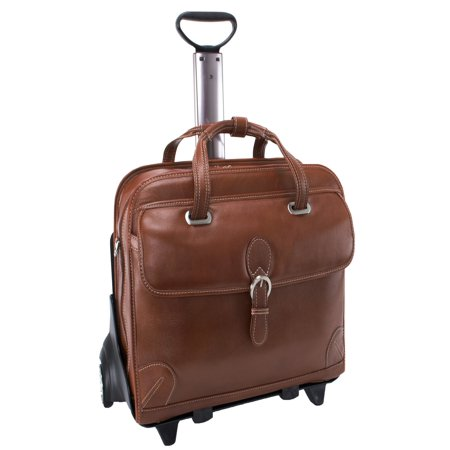 Siamod Carugetto Detachable-Wheeled Leather Laptop Case - Cognac
