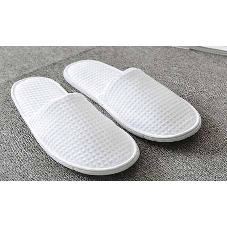 Waffle Closed Toe Adult Slippers Cloth Spa Hotel Unisex Slippers for Women and Men, White](Foldable Slippers In A Bag)