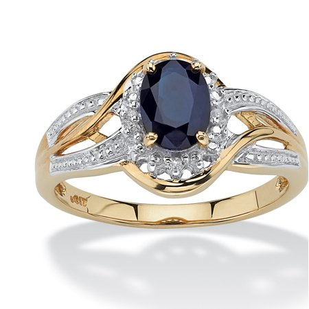 - 10k Yellow Gold Oval Blue Sapphire and Round Diamond Accent Crossover Ring