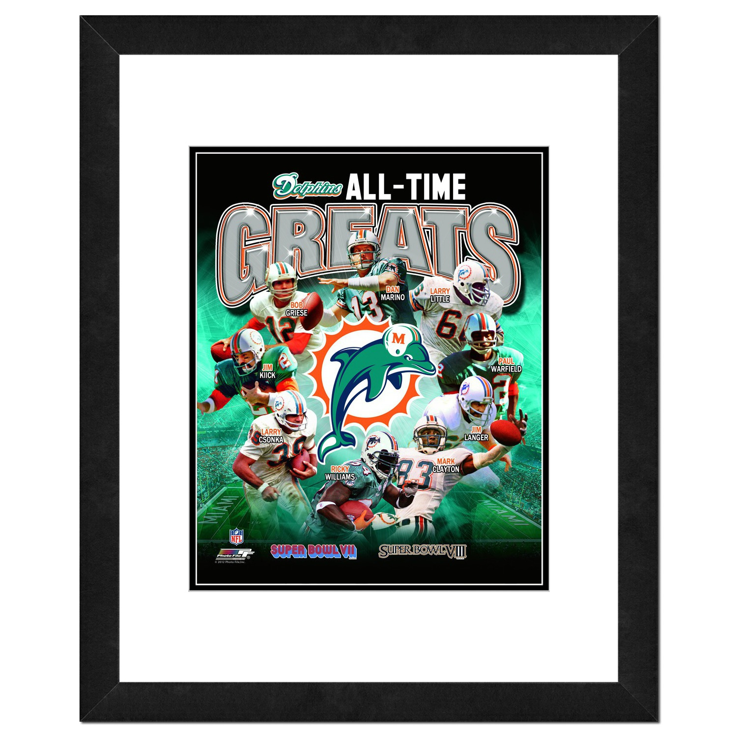 """Miami Dolphins - NFL All Time Greats - 18"""" x 22"""" Framed Photo, or 16"""" x 13"""" Framed Photo"""