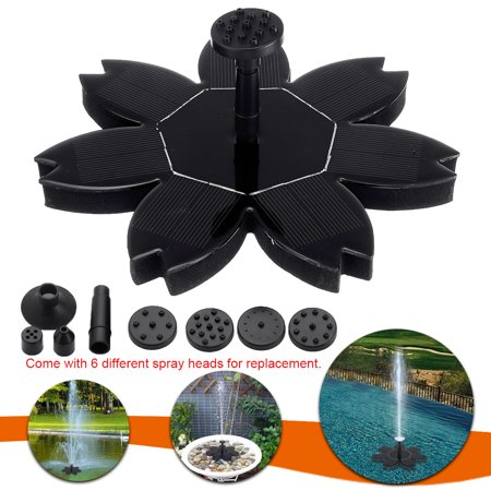 7V 1.5W Lotus Leaf Shape Automatic Solar Panel Powered Water Pump w/ 6 Spray Heads Power Fountain Floating Panel Garden Landscape Pool Plants Fish Pond Watering Kit