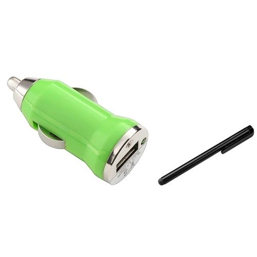 Insten Car Use Green Mini USB DC Charger For Apple iPhone 6 5 5S 5C 4 4S 3G 3GS Samsung Galaxy S5 S4 S3 with Free Stylus