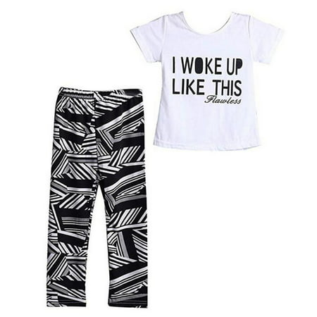 Baby Girls White Letter T-shirt+Zebra-Stripe Pants Two-Pieces Summer Outfits Set](Zebra Outfit)