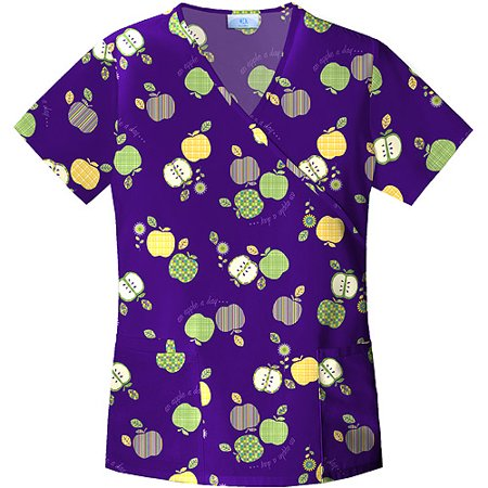 Cherokee Basic Scrubs - Simply Basic Apple Festival Mock Wrap Scrub Top