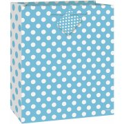 (3 Pack) Light Blue Polka Dot Gift Bag