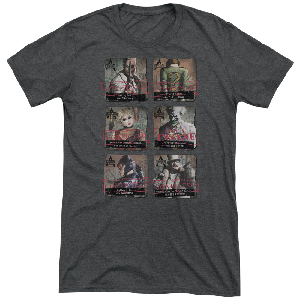 Arkham City Arkham Lineup Mens Tri-Blend Short Sleeve Shirt