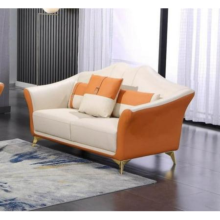 Italian Leather Off White & Orange Loveseat WINSTON EUROPEAN FURNITURE Modern