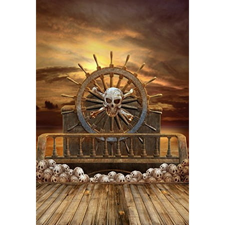 GreenDecor Polyster 5x7ft Halloween Backdrop Backdrop Photography Background Wooden Wheel Pirate Ship Skulls Horror Night Backdrop Photo Studio Props (Universal Studios Halloween Horror Nights)