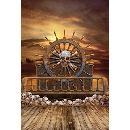 GreenDecor Polyster 5x7ft Halloween Backdrop Backdrop Photography Background Wooden Wheel Pirate Ship Skulls Horror Night Backdrop Photo Studio Props