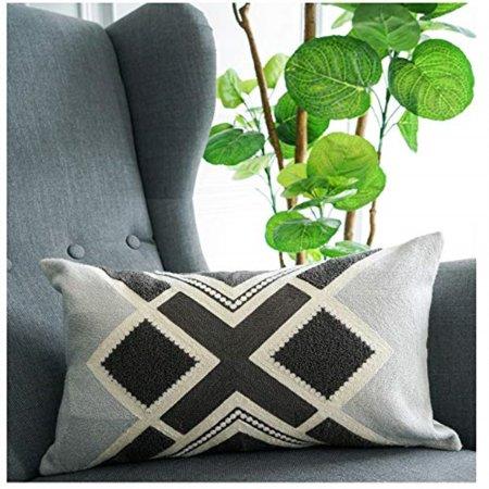 Lananas Lumbar Small Decorative Throw Pillows Bed Grey Pillow Covers Embroidery Boho 12 X 20