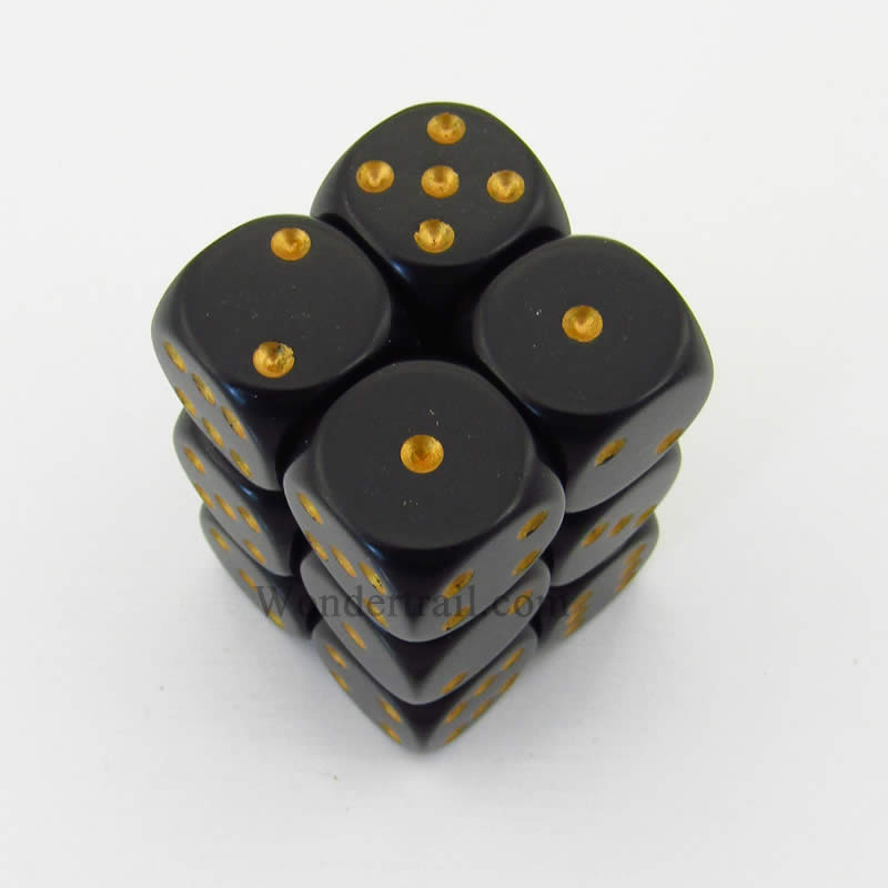 Black Opaque D6 Dice with Gold Pips 16mm (5/8in) Pack of 12 Dice Chessex