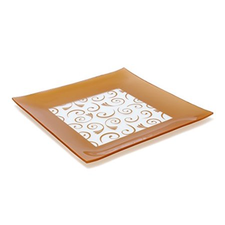 GAC Large 13 Inch Tempered Glass Tray Square Glass Platter Break and Chip Resistant - Oven/Microwave Safe - Dishwasher Safe - Decorative Paisley Pattern Plate, Glass Serving Tray
