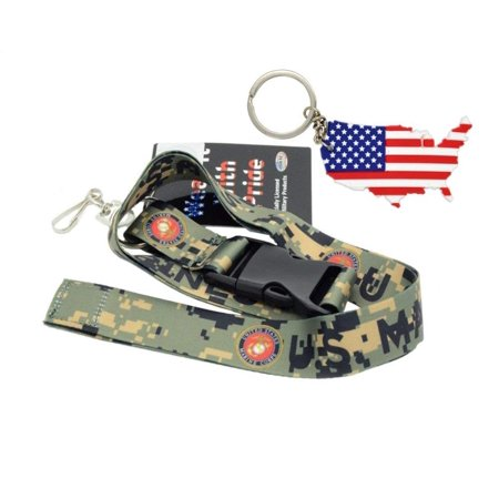 """Official Licensed Products Military Canouflage """"U.S.Marines"""" Lanyards Free USA Flag Keychain, Official Licensed Product By ACCmall"""