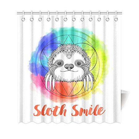 GCKG Cute Animal Shower Curtain, Sloth Geometry Polyester Fabric Shower Curtain Bathroom Sets 66x72 Inches - image 3 of 3