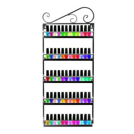 Dazone Nail Polish Wall Rack Organizer Holds 50 Bottles Nail Polish Shelf Black (Nail Wall Cross)