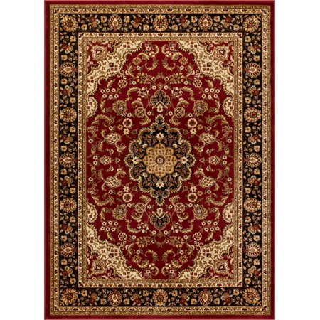 Black Transitional Rug - Noble Medallion Red Green Ivory Light Blue Black Persian Floral Oriental Formal Traditional Area Rug Shed Free Modern Contemporary Transitional Soft Living Dining Room Rug