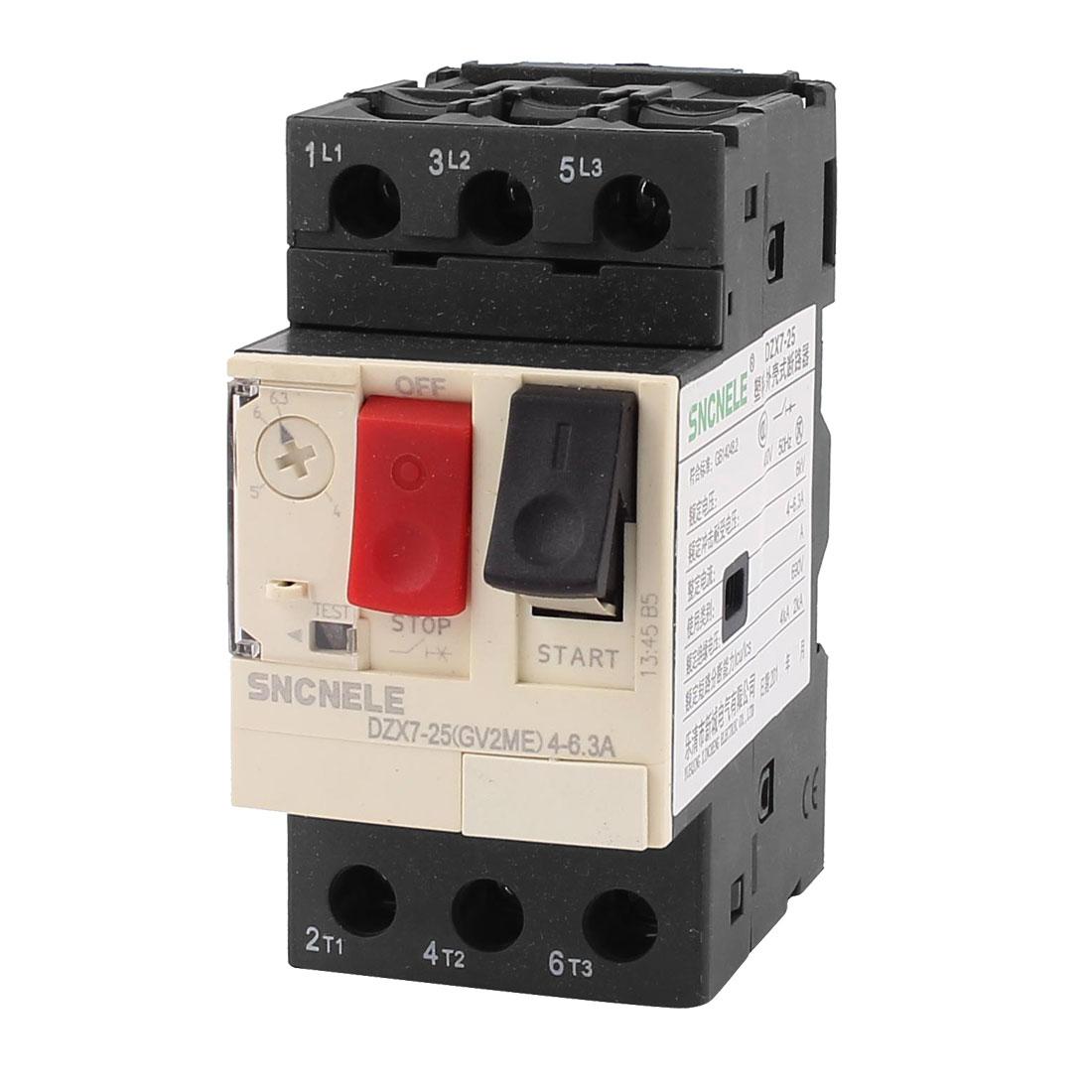 690V 6KV 4-6.3A 3 Phase Thermal Magnetic Motor Protection Circuit Breaker