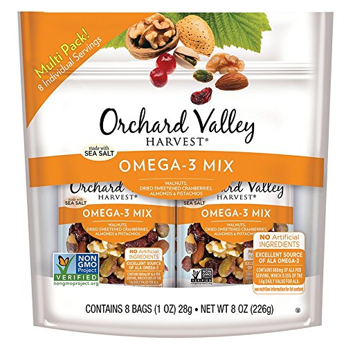 Orchard Valley Harvest Omega-3 Mix Multi Pack, 1 oz Bags (Pack of 8)