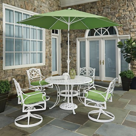 - Biscayne White Round 7 Pc Outdoor Dining Table, 4 Arm Chairs with Cushions & Umbrella with Base