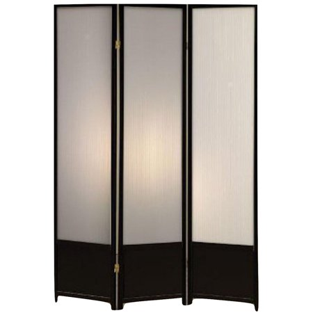 Legacy Decor 3 Panel Solid Wood Screen Room Divider with Translucent Inserts, Black Finish