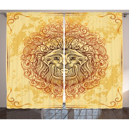 Abstract Art Curtains 2 Panels Set  Zodiac Lion With Baroque Motifs On Grunge Aged Background Pride Sign Astrology Theme  Living Room Bedroom Decor  Yellow Orange  By Ambesonne
