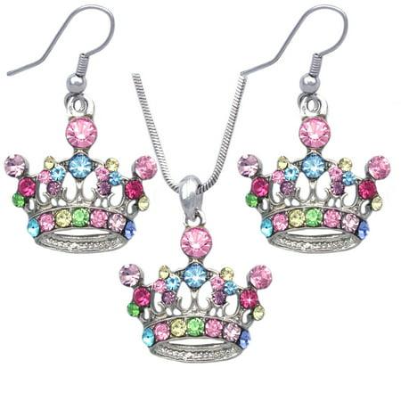 cocojewelry Queen Princess Crown Tiara Pendant Necklace Earrings Set - Aurora Tiara