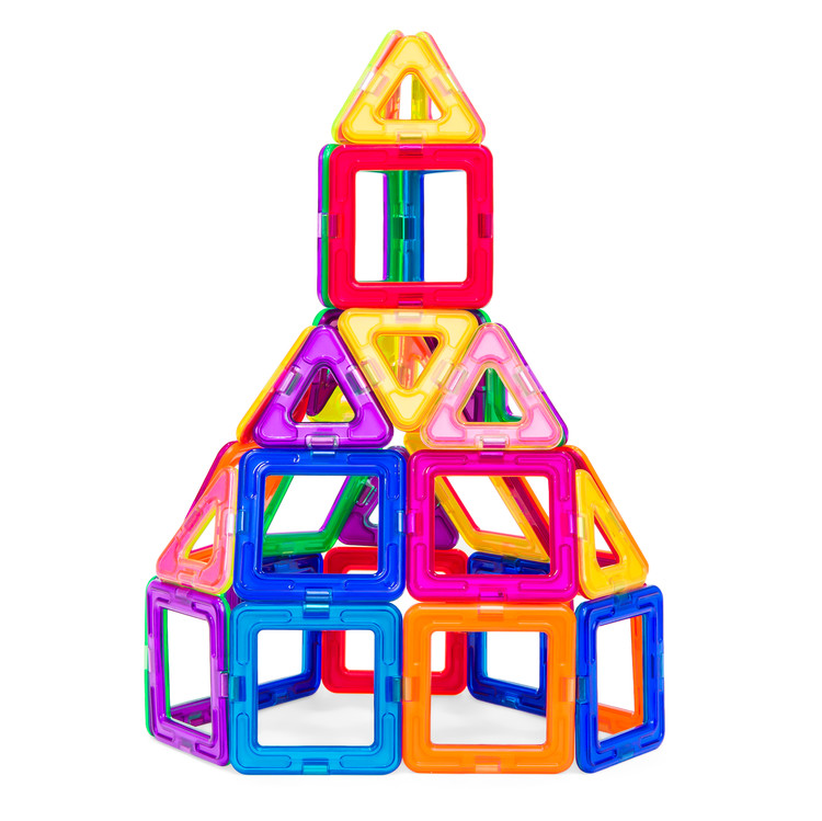 58-Piece Multi Colors Magnetic Block Tiles Educational STEM Toy Building Set w/ Carrying Case