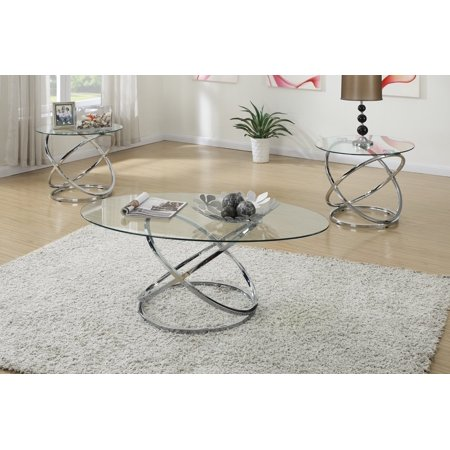 3pc Modern Glass Top Coffee End Table Set with Spinning Circles Base Design ()